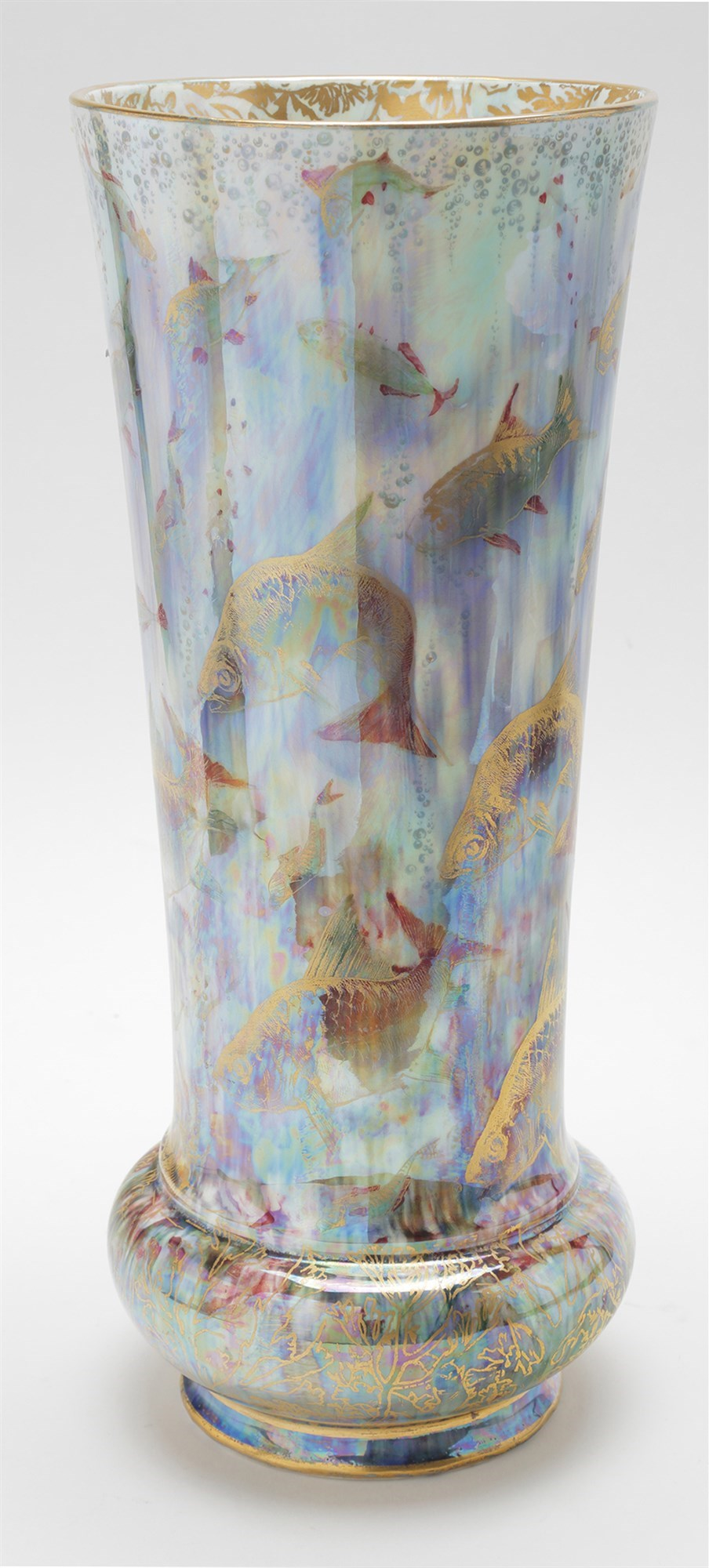 Wedgwood 'fairyland' lustre realistic fish trumpet shaped vase,
