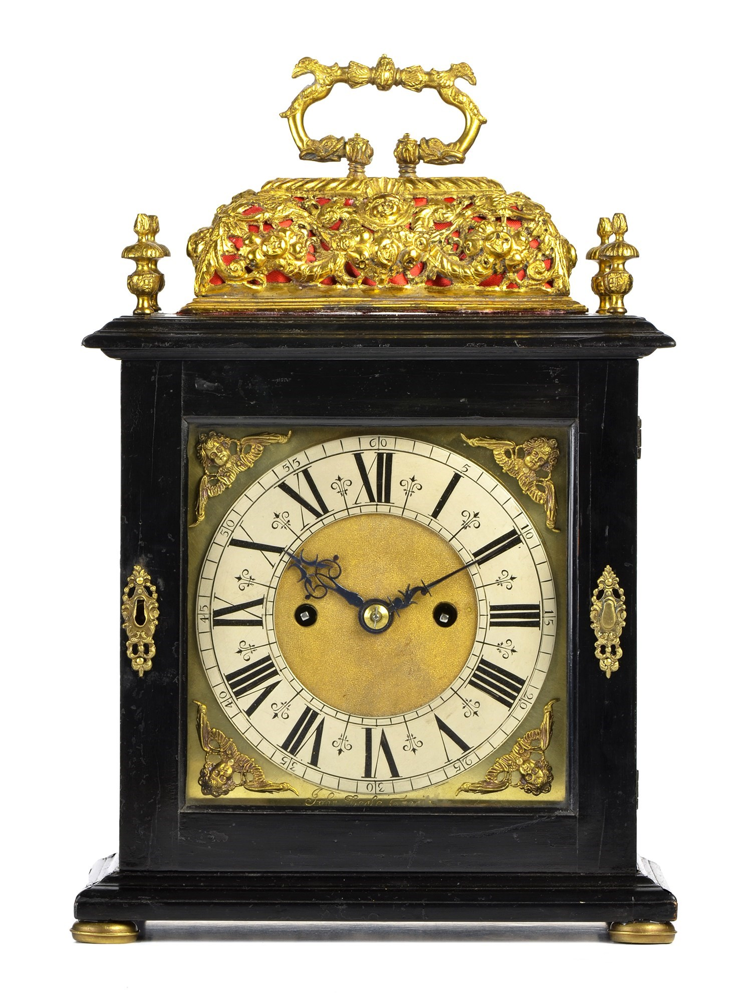 A late 17th Century basket-top bracket clock, John Beale, London, the case with dolphin handle over a repousse basket