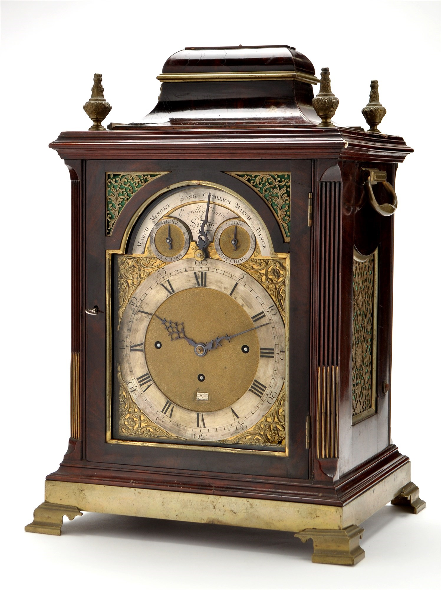 Eardley Norton: a George III mahogany and brass mounted striking and musical bracket clock,