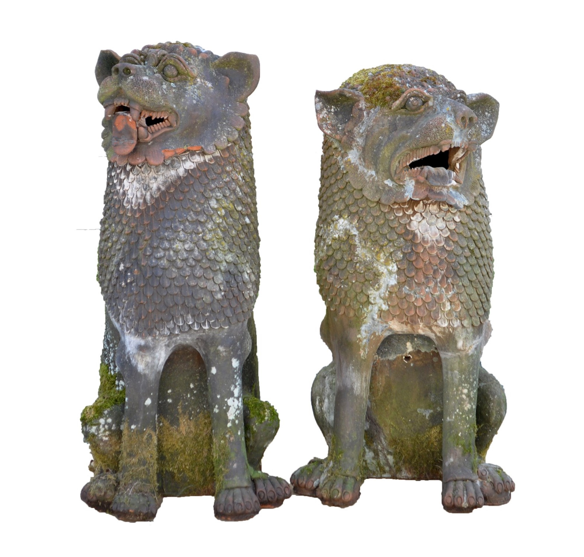 Two Chinese terracotta dogs of foe garden ornaments, each with open mouths and scale manes