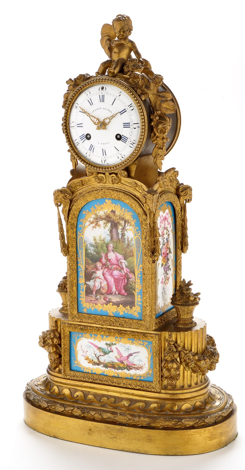 Julien Le Roy, Paris: an impressive French gilt bronze and porcelain moulded mantel clock,