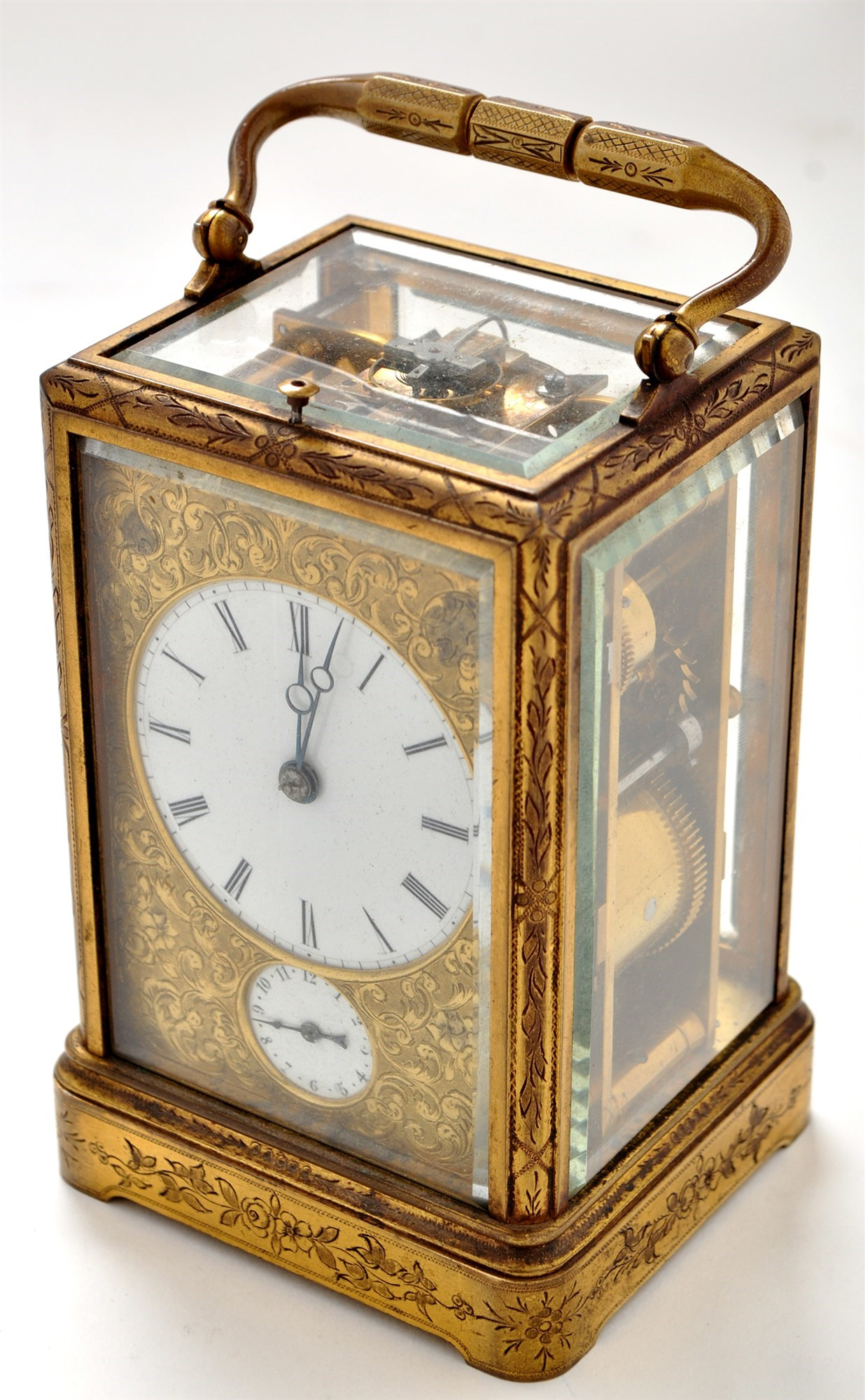 Drocourt: a late 19th Century engraved gilt brass striking and repeating alarm carriage clock