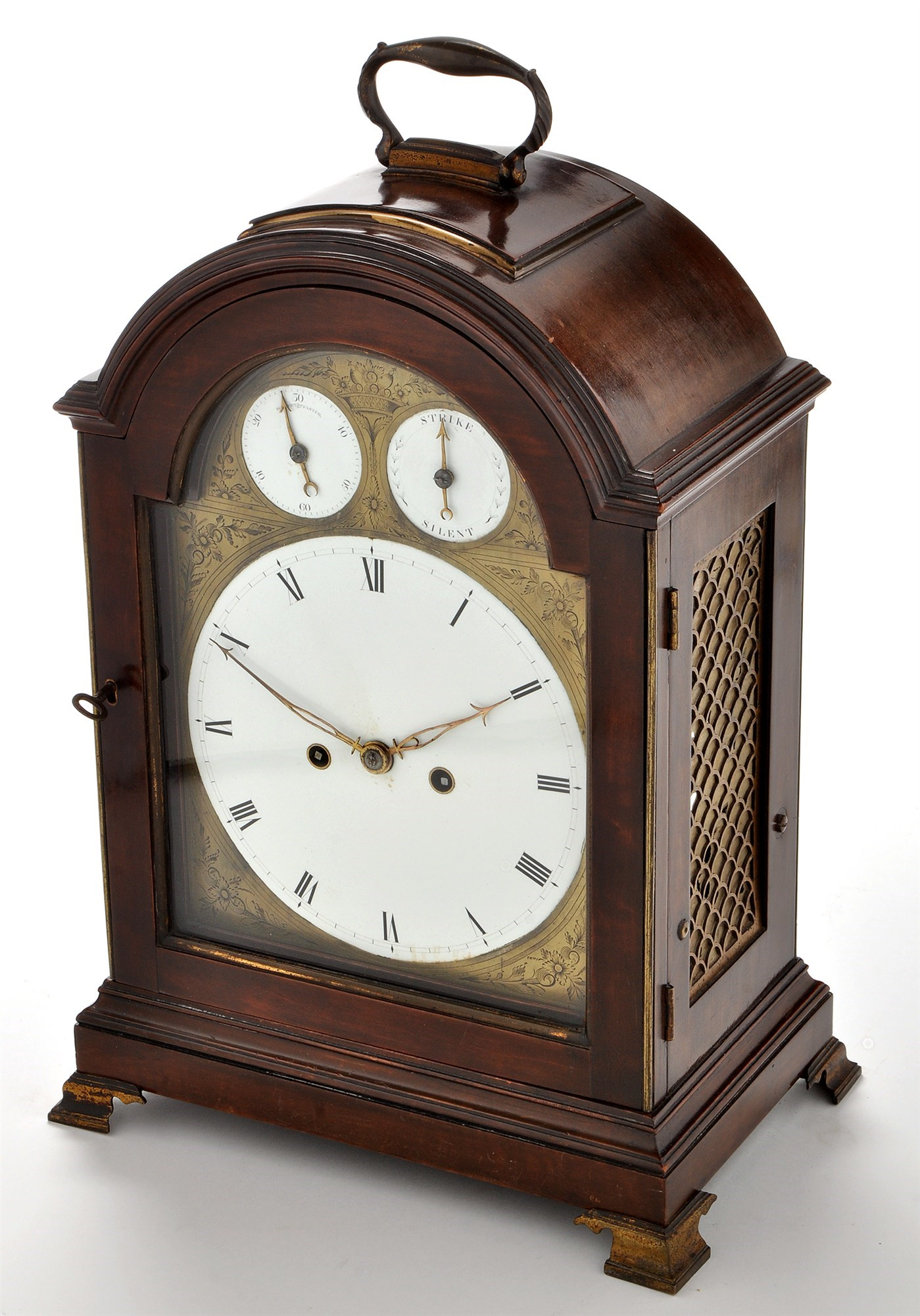 A George III style mahogany cased mantel clock,