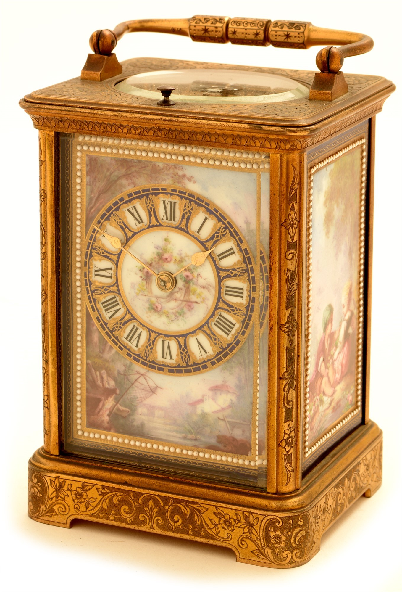 Richard & Co: a brass and porcelain mounted repeating carriage clock