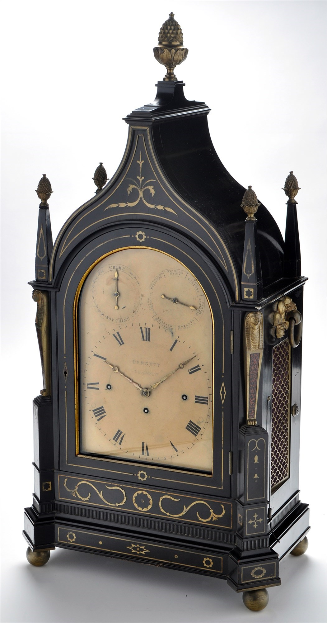 *Bennett Norwich: a Regency ebonised and brass inlaid musical bracket clock,