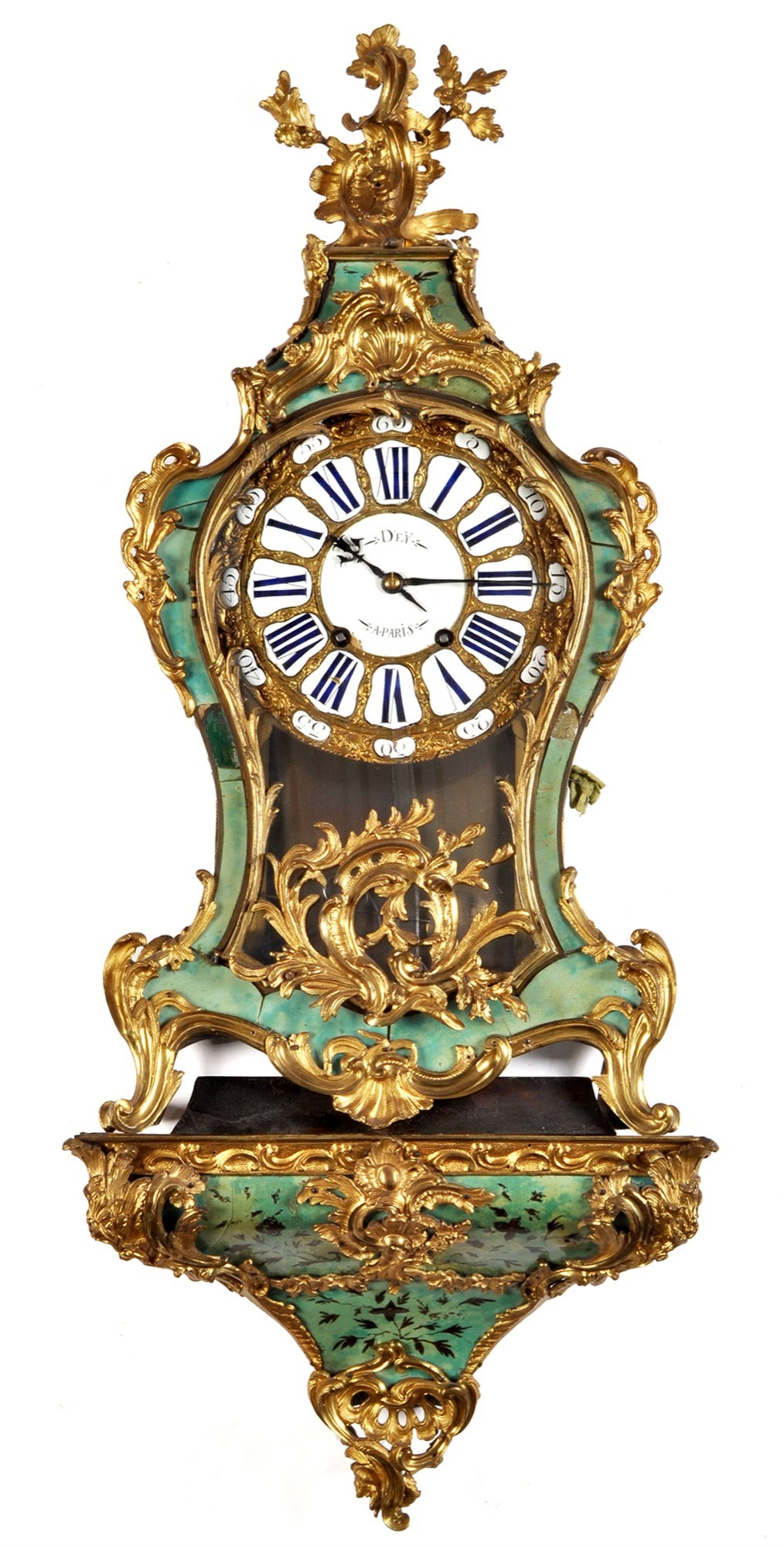 D'Ey, Paris: a large Louis XV style ormolu and stained tortoiseshell bracket clock,