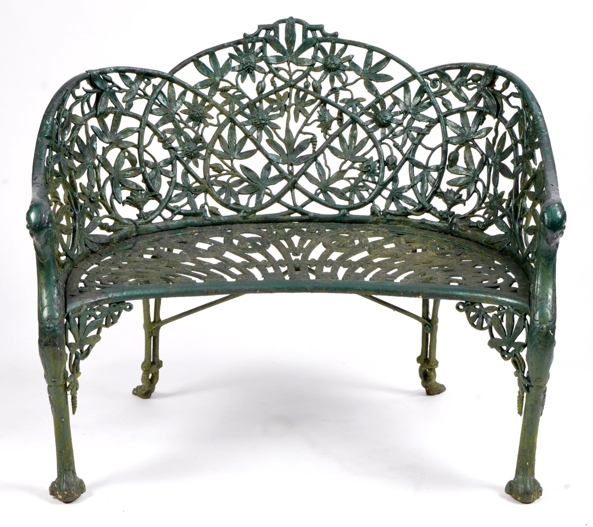 A Victorian green painted cast iron garden seat, by Coalbrookdale Co., in No. 32 passion flower design
