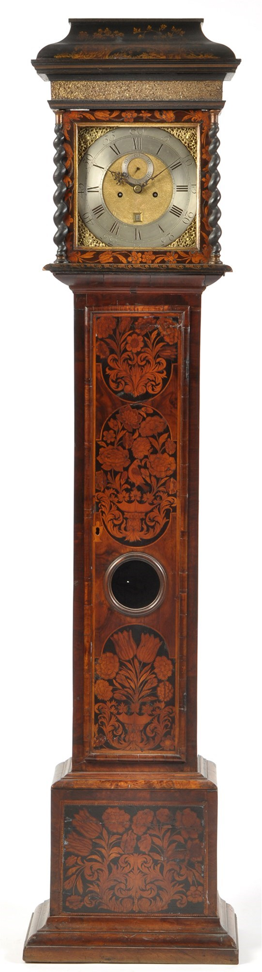 Hindley, York: a walnut and floral marquetry longcase clock,