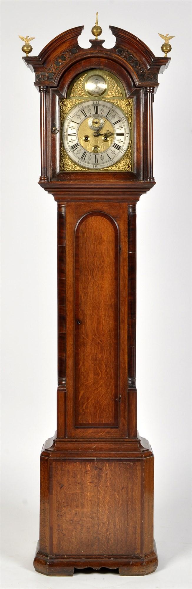 Thomas Ogden, Halifax: a George III oak and mahogany banded longcase clock,