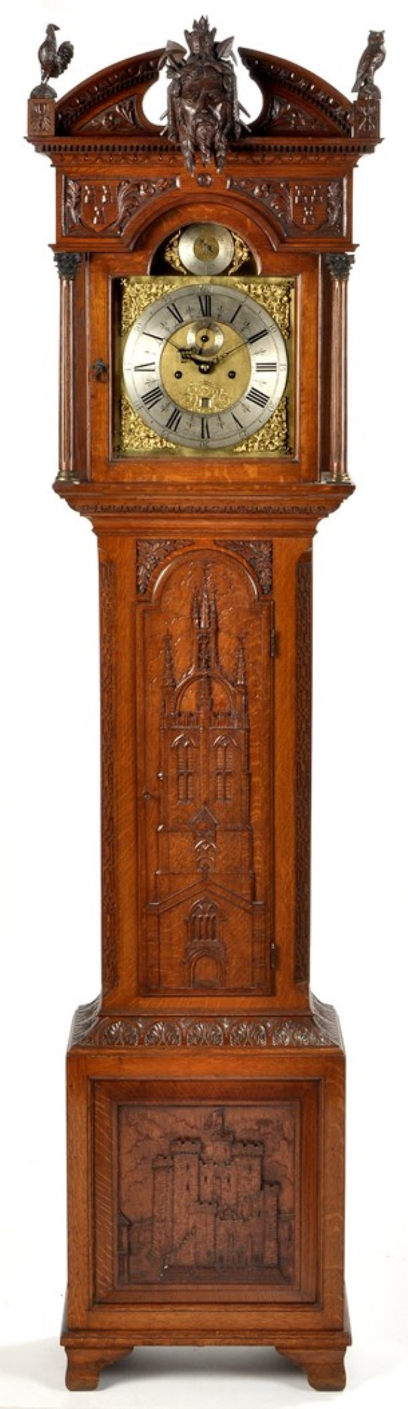 Gerrard Robinson: an impressive oak longcase clock, with ornate carving of Newcastle subjects by the famous carver Gerrard Robinson,