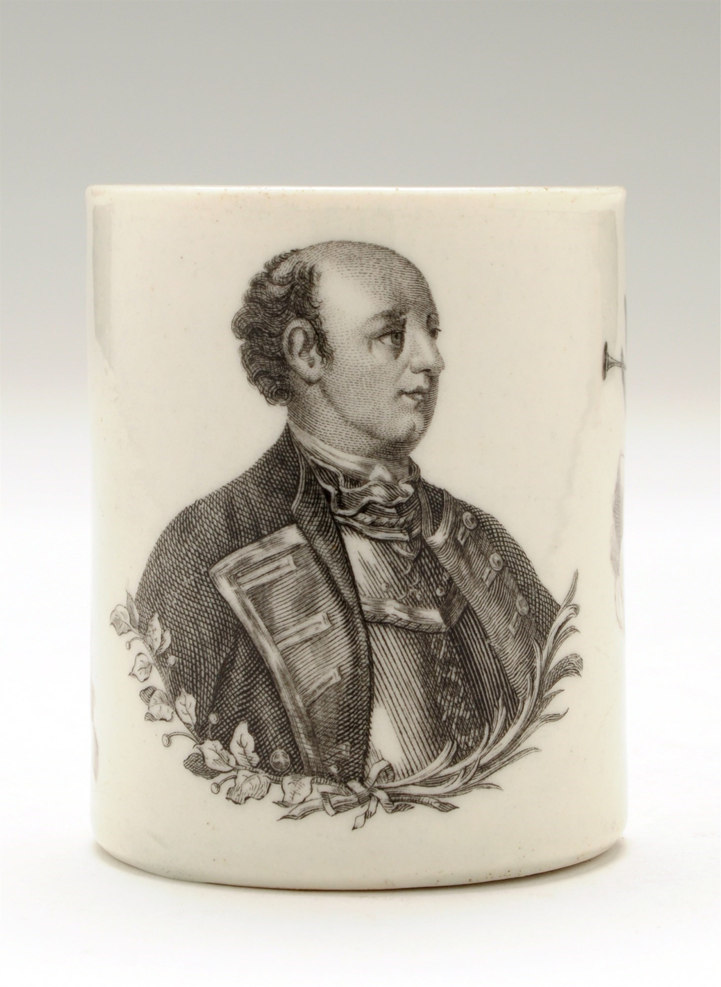 Worcester printed ''Marquess of Granby'' mug, of Seven Years' War and Blues and Royals interest, with portrait after Sir Joshua Reynolds, strap handle, 18th Century