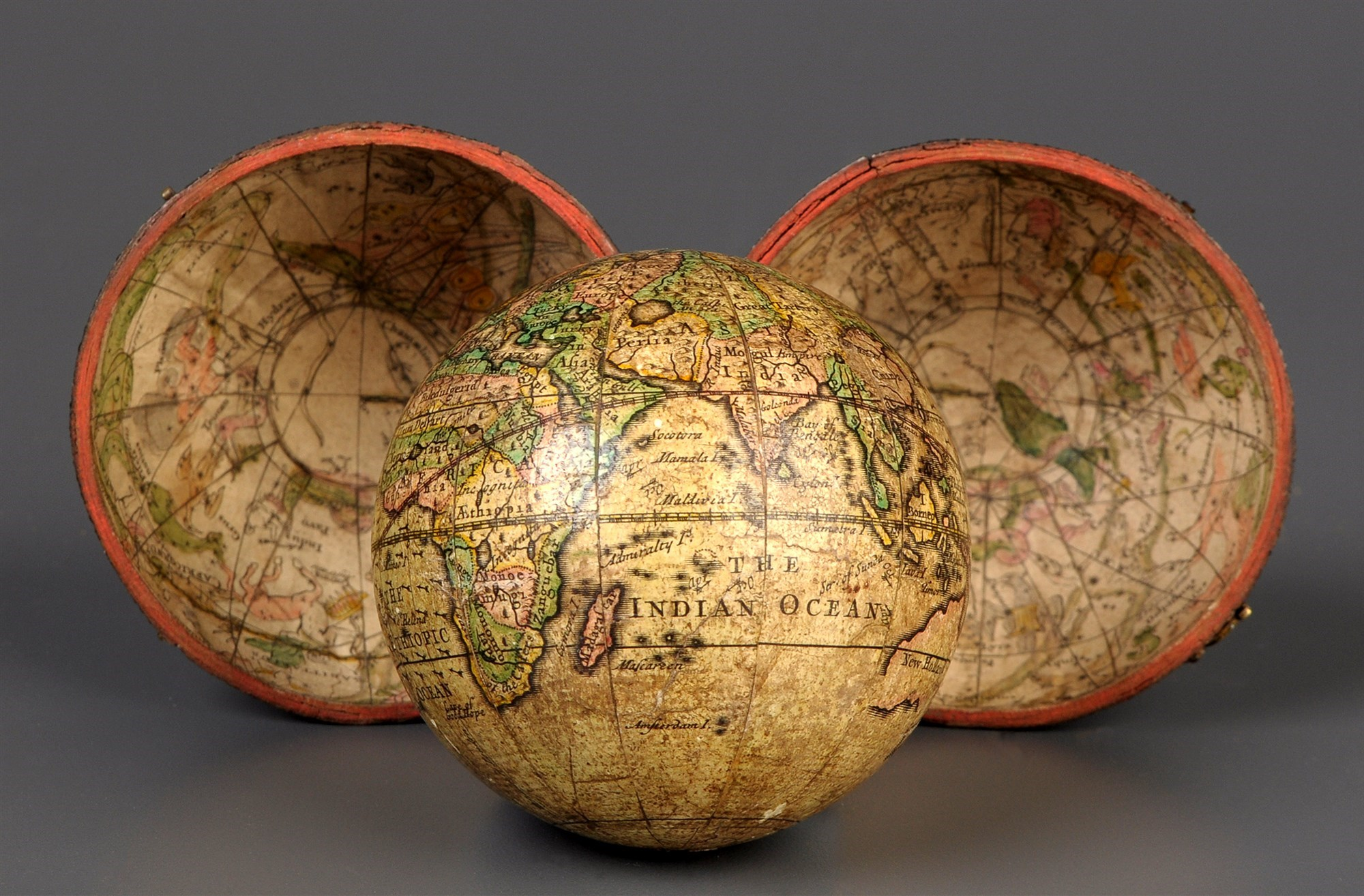 A mid 18th Century pocket globe, circa 1750, by John Senex,