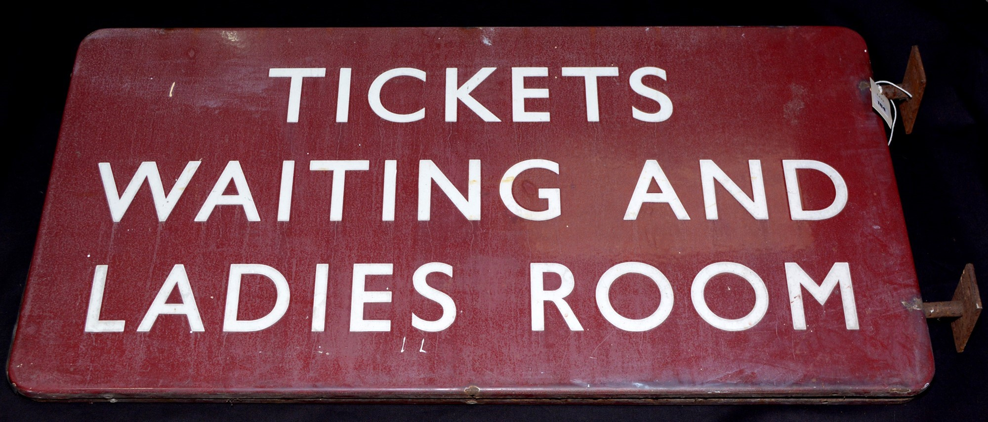 "Midland railways enamel sign inscribed ""Tickets waiting and ladies room"", double sided,"