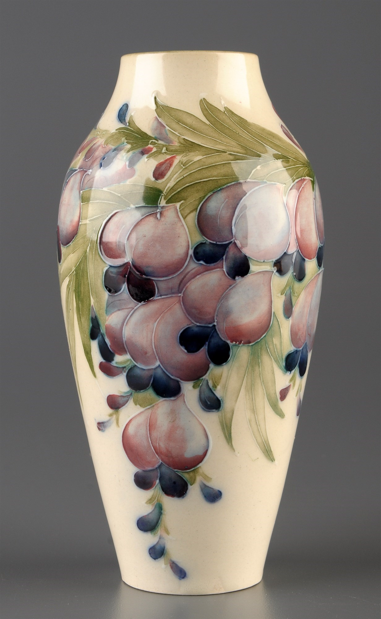 William Moorcroft for MacIntyre: a vase of baluster form, circa 1910, decorated with wisteria