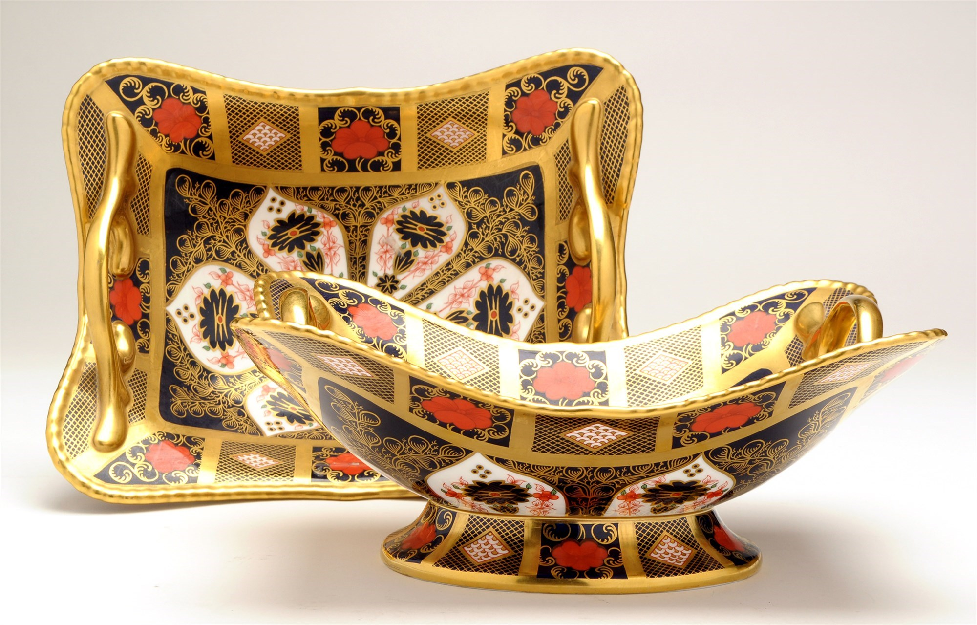 Royal Crown Derby: a pair of handled compotes in Old Imari