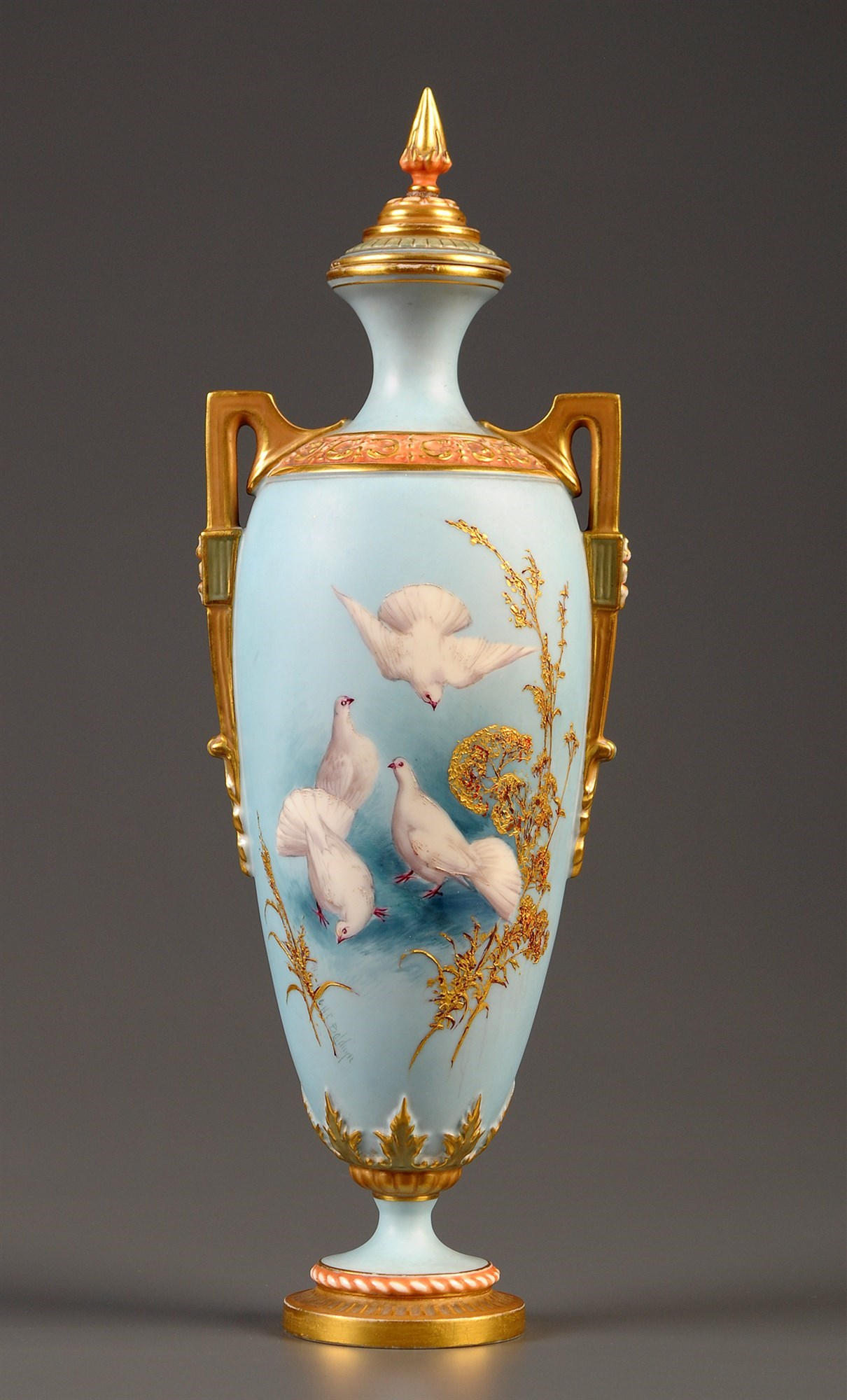 Royal Worcester: a vase, shape number 2193, painted with doves by Charles Baldwyn,