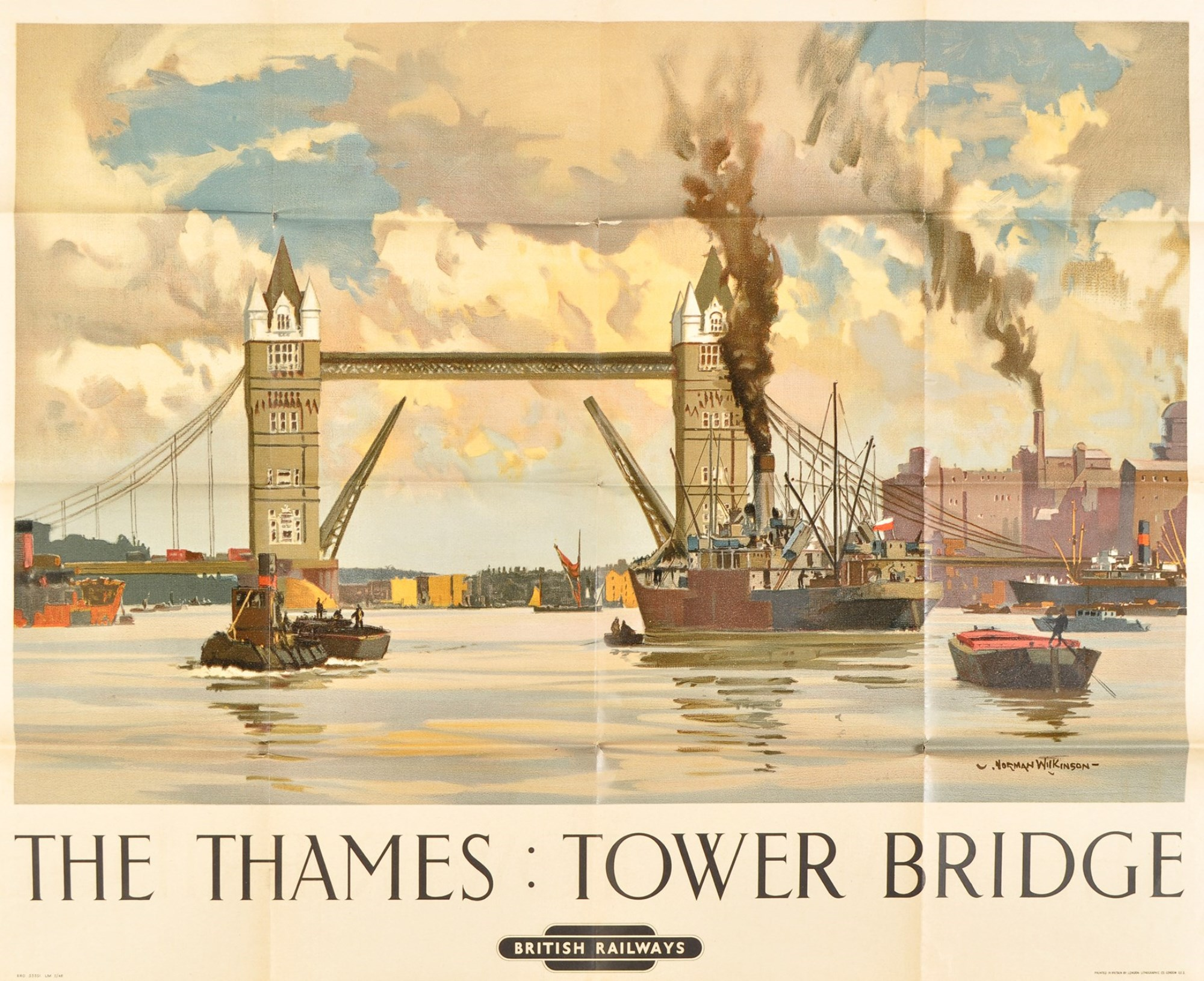 A double size British Railway poster for 'Thames: Tower Bridge', by Norman Wilkinson