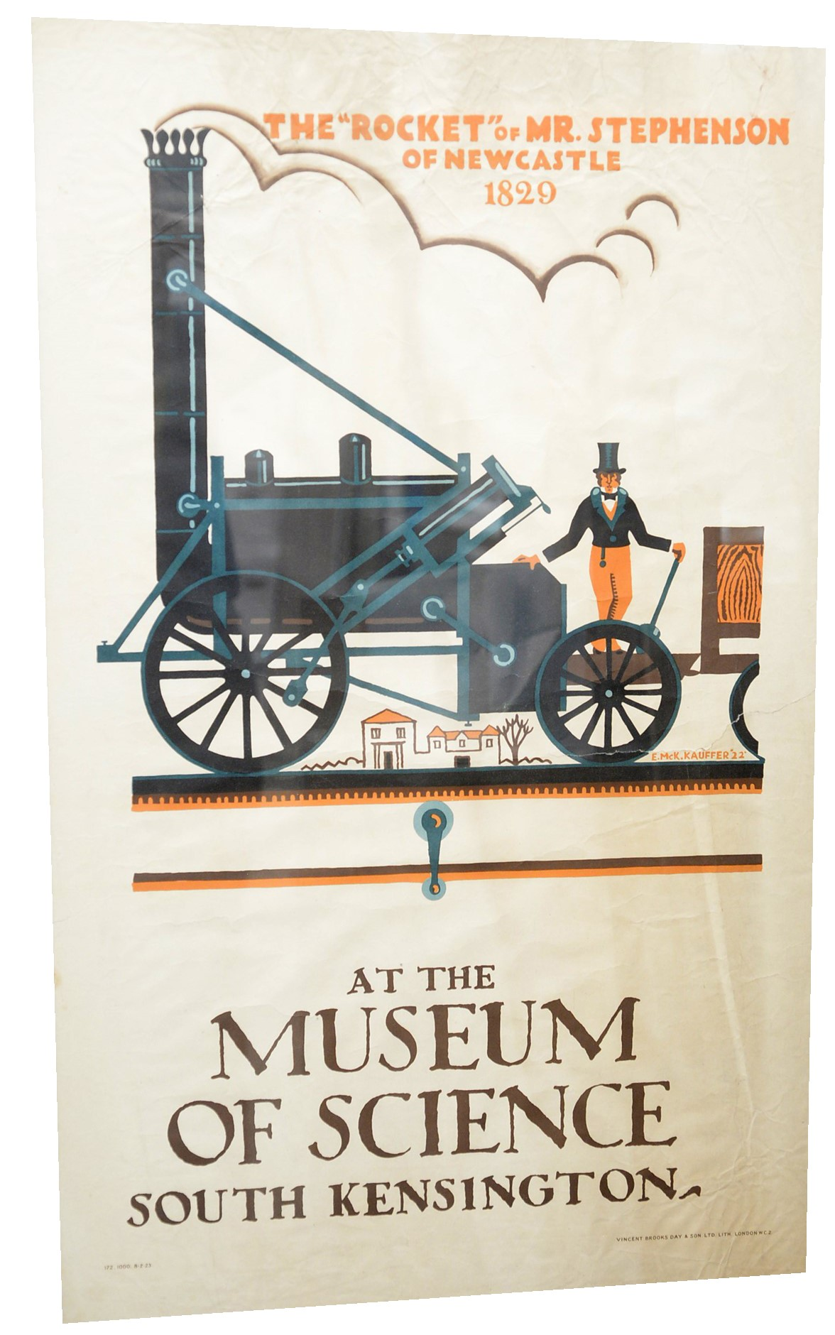 An early 20th Century railway poster featuring Stephenson's 'Rocket' locomotive,