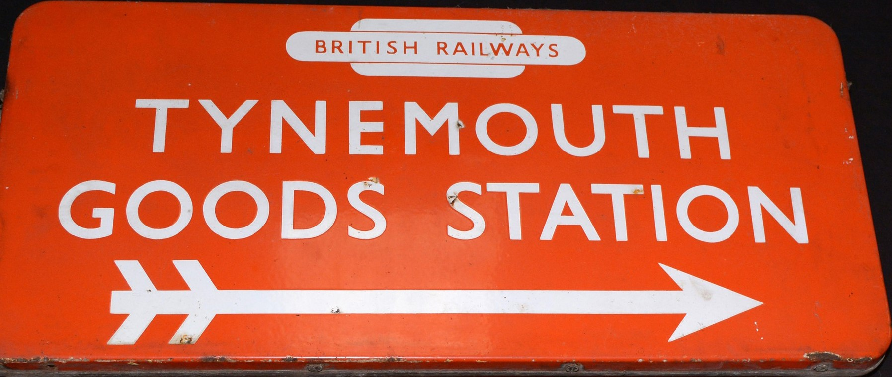 Tynemouth Goods Station enamel railway sign