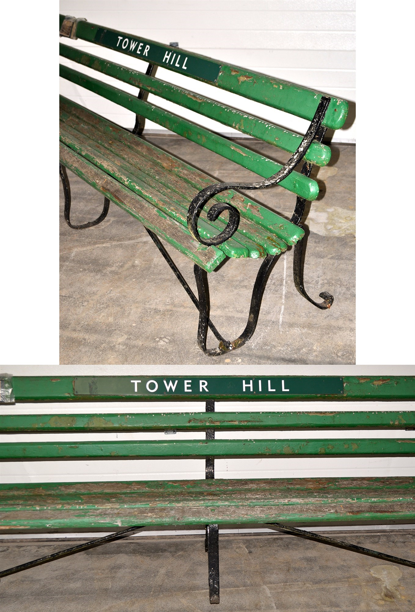 A Southern Railways platform bench for the Tower Hill Station, Devon,