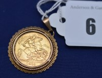 Lot 6 - A George V gold half sovereign, 1911, ib 9ct...