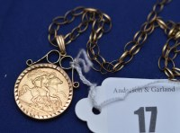 Lot 17 - A George V gold half sovereign, 1912, in 9ct....