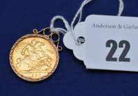 Lot 22 - A Victorian gold half sovereign, 1901, in 9ct....