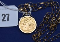 Lot 27 - A George V gold half sovereign, 1914, in 9ct....