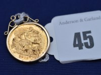 Lot 45 - A George V gold half sovereign, 1912, in 9ct....