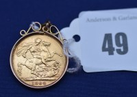 Lot 49 - An Edward VII gold sovereign, 1908, 9.2grms.