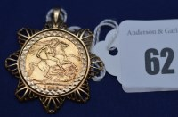 Lot 62 - An Elizabeth II gold sovereign, 1968, in 9ct....