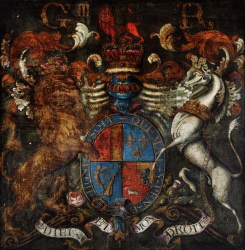 Lot 269-British School George III's Royal coat of arms,...