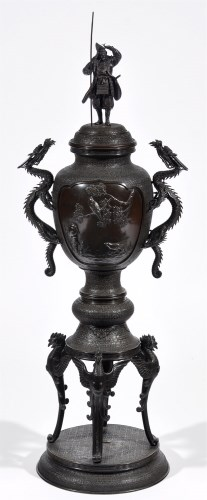 Lot 553-A fine Meiji period patinated bronze two-handled...