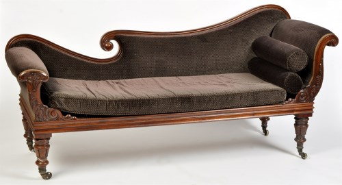 Lot 1109-A Regency rosewood chaise longue, the shaped back,...
