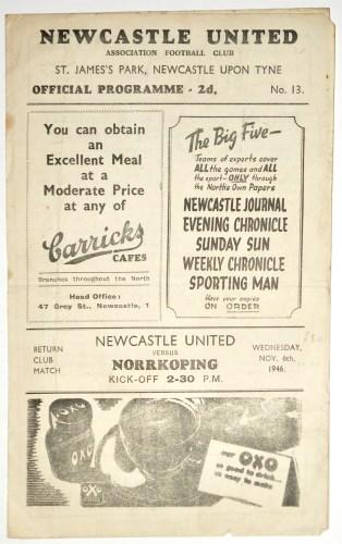 Lot 1-Newcastle United v Norrkoping, November 6th 1946, ...