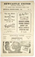 Lot 1-Newcastle United v Norrkoping, November 6th 1946, ...