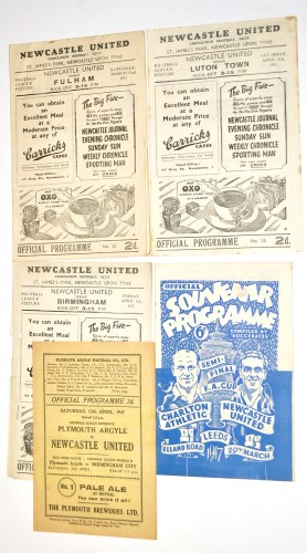 Lot 9-Newcastle United v Fulham, March 22nd 1947,...