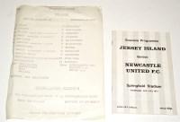 Lot 96 - Jose Island v Newcastle United, July 24th 1975...