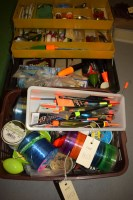 Lot 1153-A plastic cantilever fishing tackle box,...