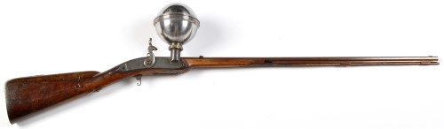 Lot 908-A ball over barrel muzzle loading air rifle, by I....