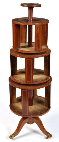 Lot 1193 - An Edwardian inlaid mahogany four-tier...