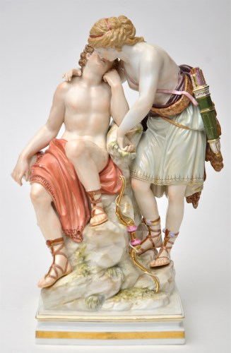 Lot 782-Meissen group of Diana and Endymion, after...
