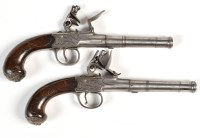 Lot 1073 - A pair of late 18th Century flintlock pistols,...