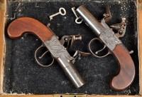 Lot 1089 - A pair of 18th Century flintlock pistols, with...