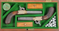 Lot 1090 - A pair of 19th Century percussion pistols, the...