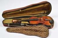 Lot 1124 - A 19th Century violin, bearing label 'Joannes...