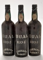 Lot 1144 - Three bottles of Cossart Maderia Bual 1934.