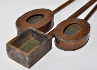 Lot 1146 - Three 19th Century oak church collection boxes,...