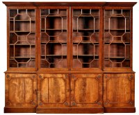Lot 1292-A George III mahogany breakfront bookcase, the...