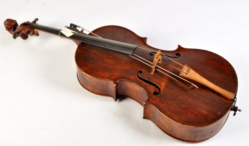 Lot 382-A 19th Century cello, the two-piece back 75cms...